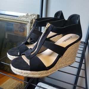 Zip front caged wedge heels